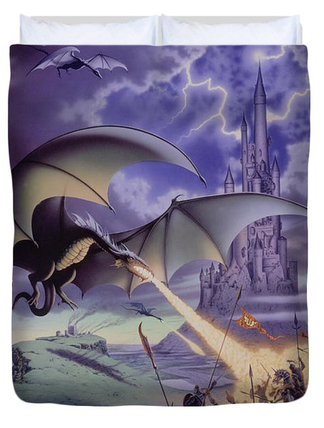 Dragon Combat Duvet Cover by The Dragon Chronicles - Steve Re