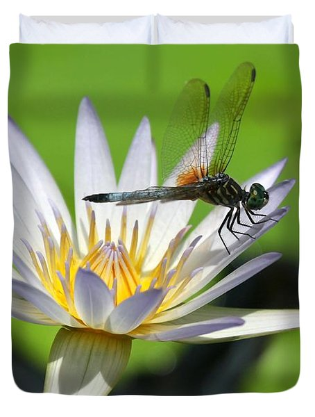 Dragonfly And The Water Lily Duvet Cover by Sabrina L Ryan