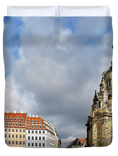 Dresden Church Of Our Lady And New Market Duvet Cover by Christine Till
