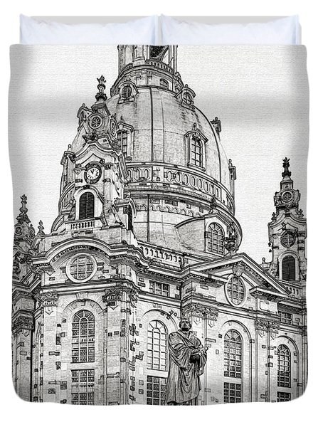 Dresden's Church Of Our Lady - Reminder Of Peace Duvet Cover by Christine Till