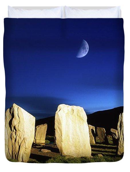 Drombeg, County Cork, Ireland Moon Over Duvet Cover by Richard Cummins