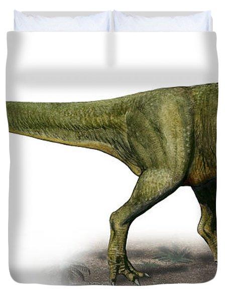 Duriavenator Hesperis, A Prehistoric Duvet Cover by Sergey Krasovskiy