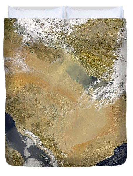 Dust And Smoke Over Iraq And The Middle Duvet Cover by Stocktrek Images