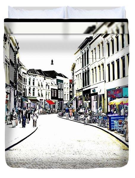 Dutch Shopping Street- Digital Art Duvet Cover by Carol Groenen