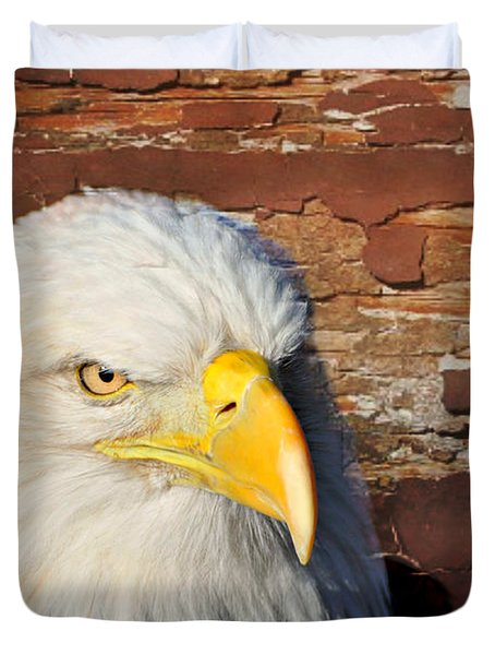 Eagle On Brick Duvet Cover by Marty Koch