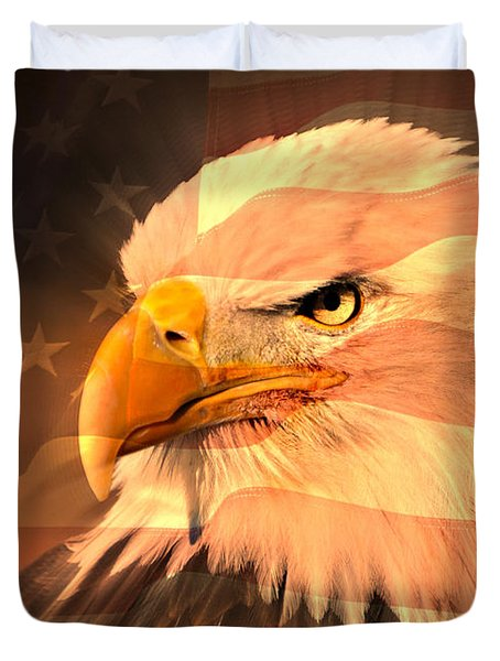 Eagle On Flag Duvet Cover by Marty Koch