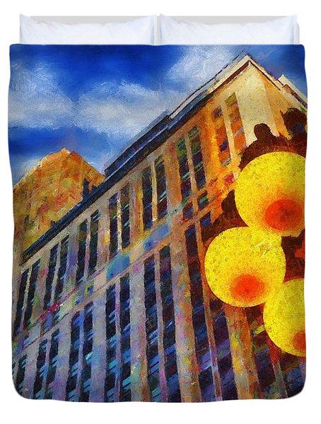 Early Evening Lights Duvet Cover by Jeff Kolker