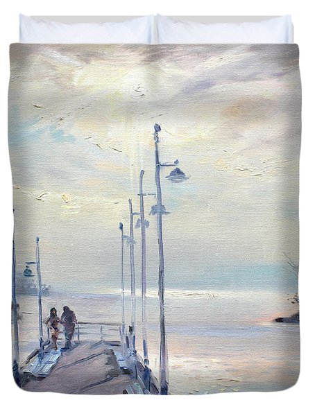 Early Morning In Lake Shore Duvet Cover by Ylli Haruni