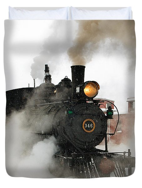 Early Morning Winter Steam Up Duvet Cover by Ken Smith
