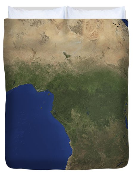 Earth Showing Landcover Over Africa Duvet Cover by Stocktrek Images