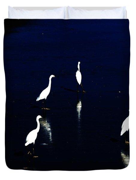 Egret Reflections Duvet Cover by David Lane