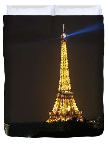 Eiffel Tower at Night Duvet Cover by Jennifer Lyon