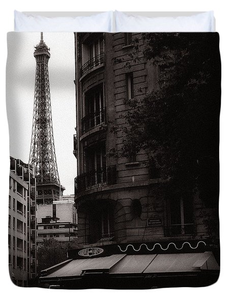 Eiffel Tower Black and White 2 Duvet Cover by Andrew Fare