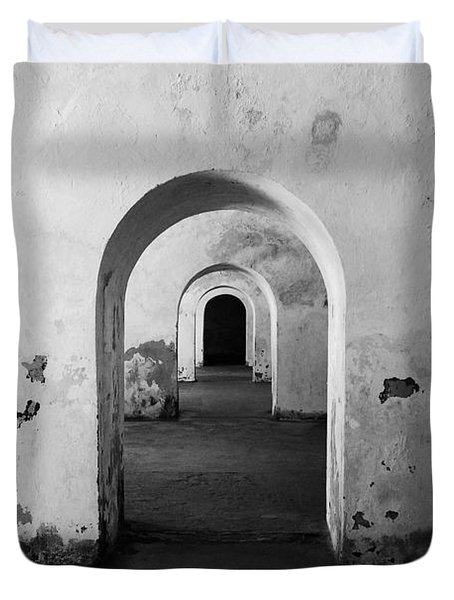 El Morro Fort Barracks Arched Doorways San Juan Puerto Rico Prints Black and White Duvet Cover by Shawn O'Brien