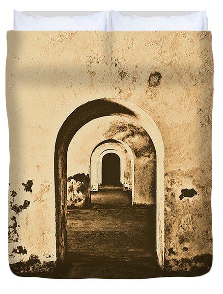 El Morro Fort Barracks Arched Doorways San Juan Puerto Rico Prints Rustic Duvet Cover by Shawn O'Brien