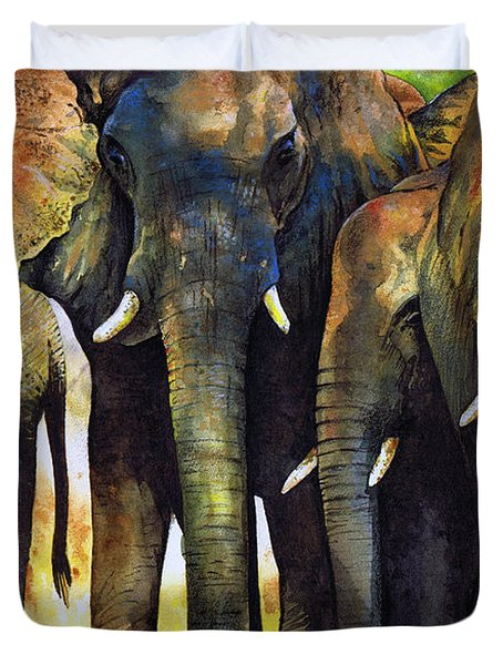 Elephant Herd Duvet Cover by Paul Dene Marlor
