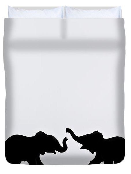 Elephant Pair Reflection Duvet Cover by Chris Knorr