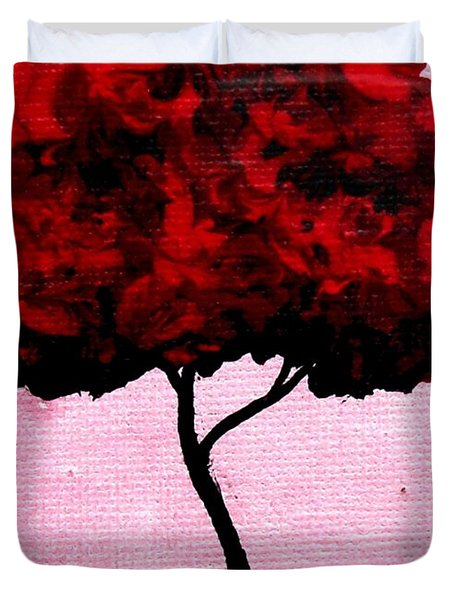 Emily's Trees Red Duvet Cover by Lizzy Love of Oddball Art Co