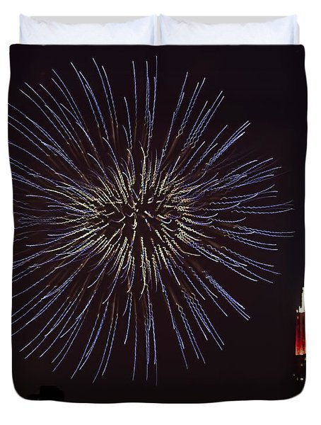 Empire State Fireworks Duvet Cover by Susan Candelario