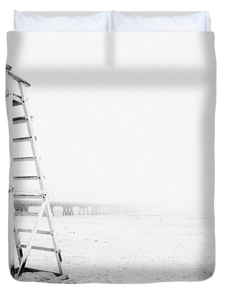 Empty Life Guard Tower 2 Duvet Cover by Skip Nall