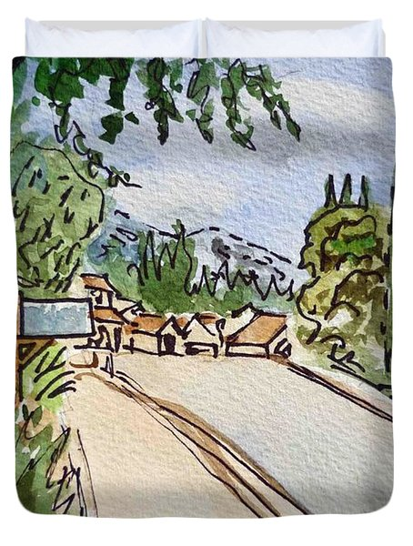 Empty Road Sketchbook Project Down My Street Duvet Cover by Irina Sztukowski