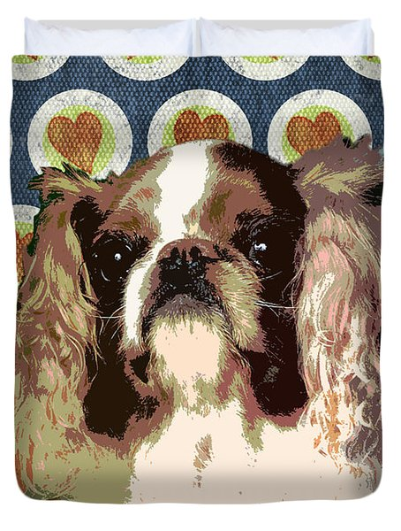 English Toy Spaniel Duvet Cover by One Rude Dawg Orcutt