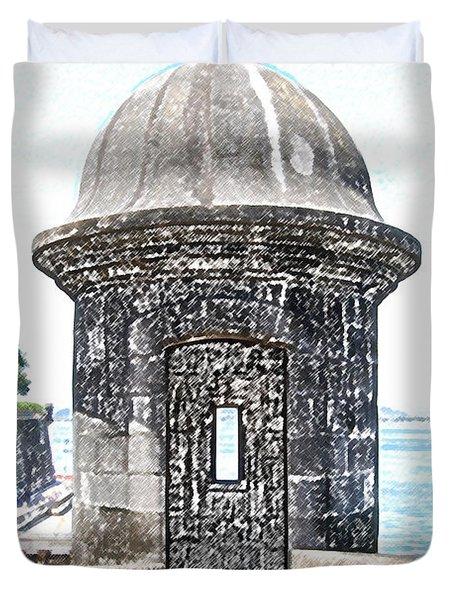 Entrance to Sentry Tower Castillo San Felipe Del Morro Fortress San Juan Puerto Rico Colored Pencil Duvet Cover by Shawn O'Brien