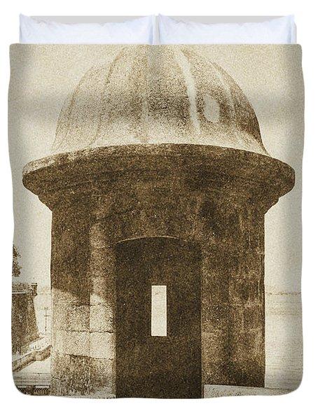 Entrance to Sentry Tower Castillo San Felipe Del Morro Fortress San Juan Puerto Rico Vintage Duvet Cover by Shawn O'Brien