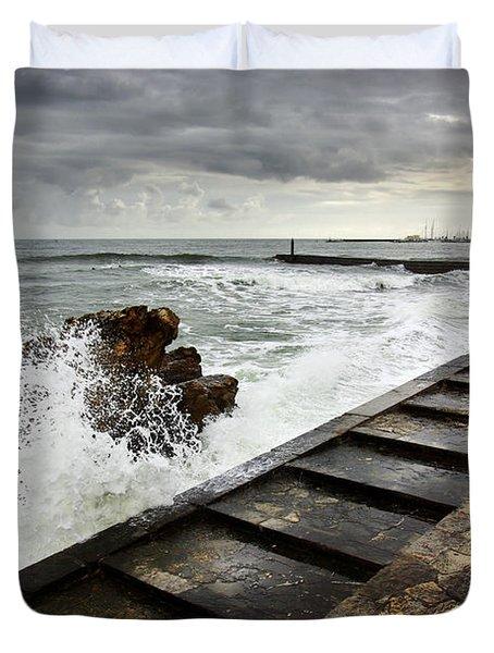 Estoril Coastline Duvet Cover by Carlos Caetano