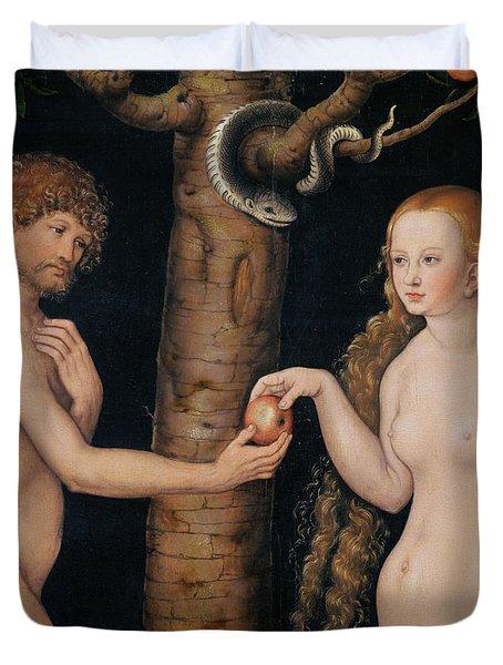 Eve Offering The Apple To Adam In The Garden Of Eden Duvet Cover by The Elder Lucas Cranach