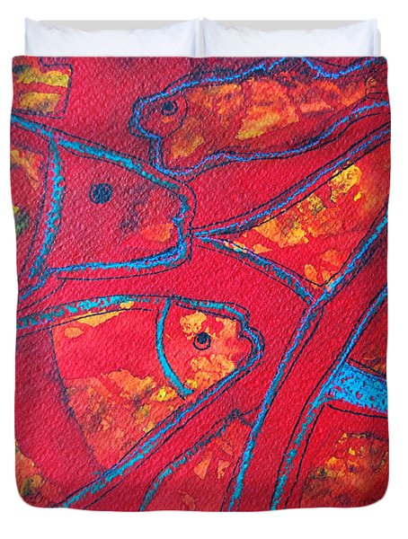 Even Fishes Love Red Duvet Cover by Ana Maria Edulescu