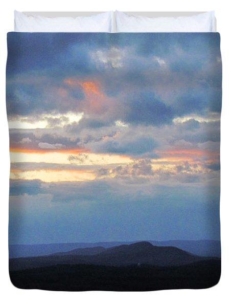 Evening Sky Over The Quabbin Duvet Cover by Randi Shenkman
