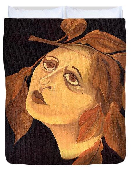 Face In Autumn Leaves Duvet Cover by Rachel Hershkovitz