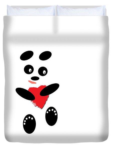 Fading Like A Flower. Panda In Love. #01 Duvet Cover by Ausra Paulauskaite
