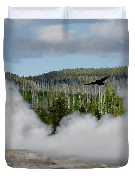 Falcon over Old Faithful - Geyser Yellowstone National Park WY USA Duvet Cover by Christine Till