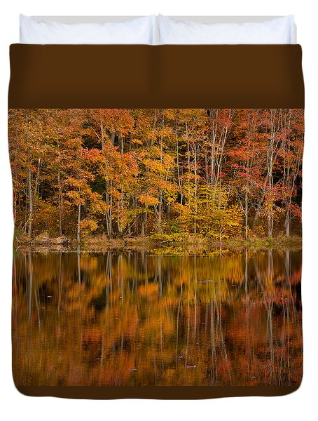 Fall Reflection Duvet Cover by Karol Livote