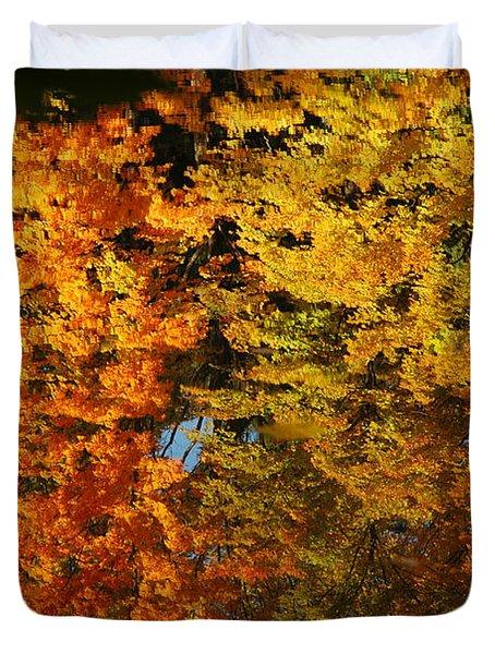 Fall Textures In Water Duvet Cover by LeeAnn McLaneGoetz McLaneGoetzStudioLLCcom