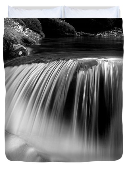 Falling Water Black and White Duvet Cover by Rich Franco