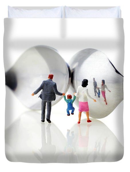 Family In Front Of Spoon Distoring Mirrors II Duvet Cover by Paul Ge