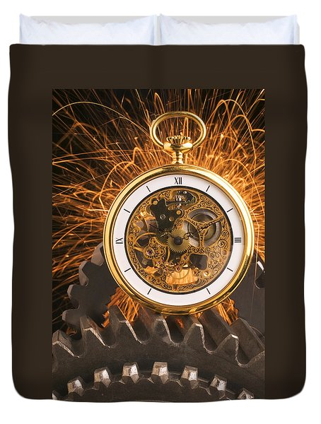 Fancy Pocketwatch On Gears Duvet Cover by Garry Gay