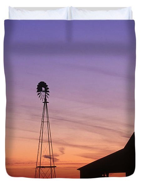 Farm at Sunset Duvet Cover by David Davis and Photo Researchers