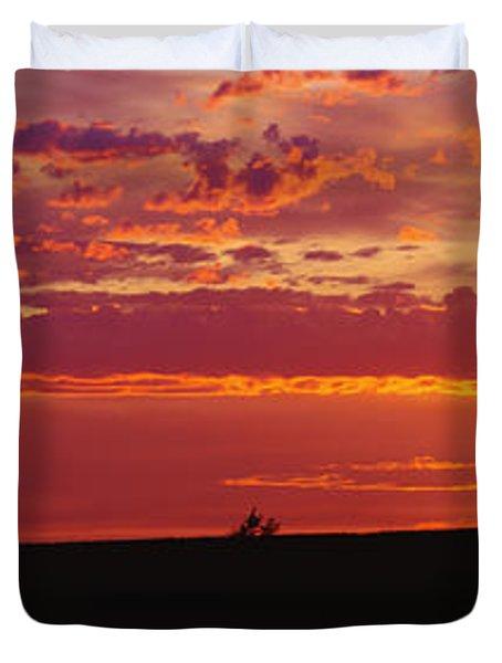 Farm Sunset Duvet Cover by Joe Sohm and ChromoSohm and Photo Researchers