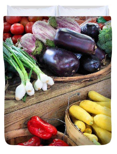 Farmers Market Summer Bounty Duvet Cover by Kristin Elmquist
