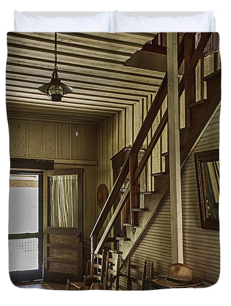 Farmhouse Entry Hall And Stairs Duvet Cover by Lynn Palmer