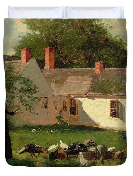 Farmyard Scene Duvet Cover by Winslow Homer