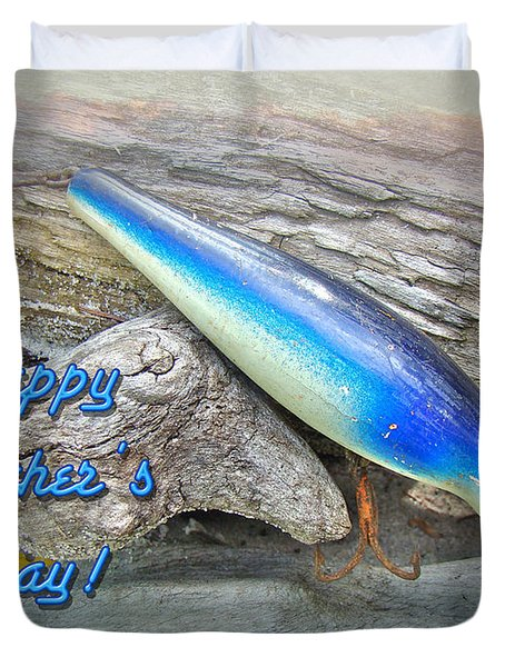 Fathers Day Greeting Card - Vintage Floyd Roman Nike Fishing Lure Duvet Cover by Mother Nature