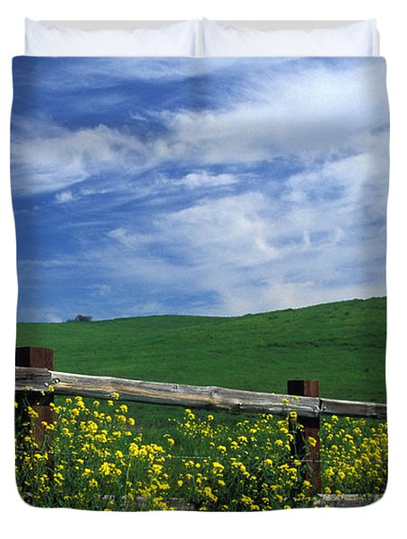 Fence and Flowers Duvet Cover by Kathy Yates