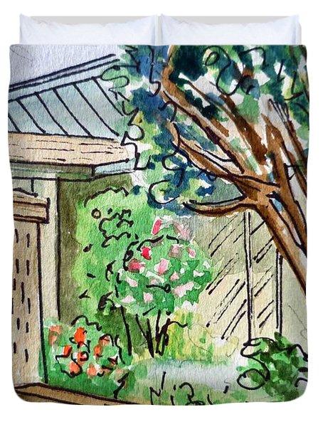 Fence Sketchbook Project Down My Street Duvet Cover by Irina Sztukowski