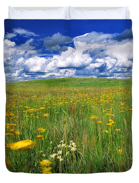 Field Of Flowers, Grasslands National Duvet Cover by Robert Postma