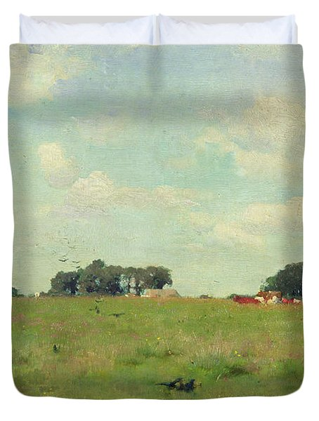 Field With Trees And Sky Duvet Cover by Walter Frederick Osborne